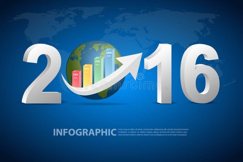 Концепция дела Нового Года 2016 иллюстрация вектора