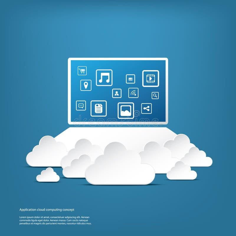 Концепция дела облака вычисляя с компьютером и иллюстрация вектора