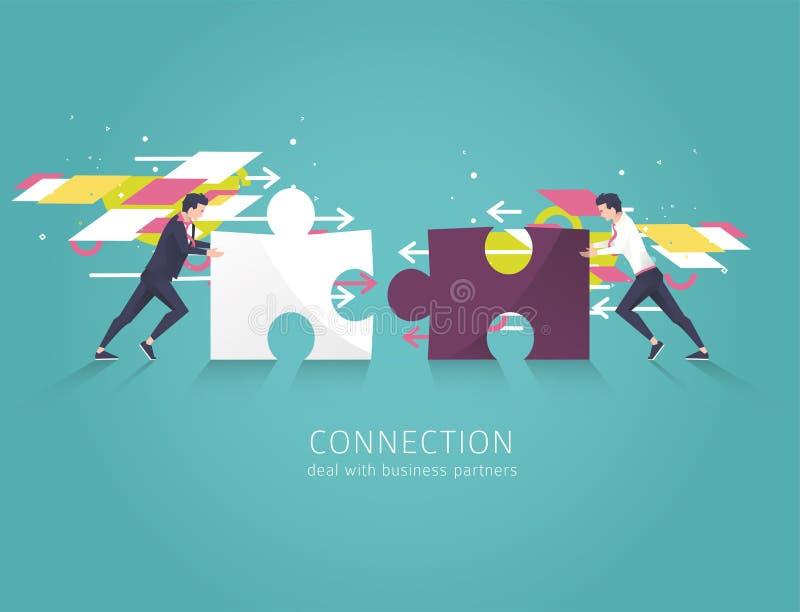 Концепция дела решения, партнерства, сотрудничества и поддержки иллюстрация штока