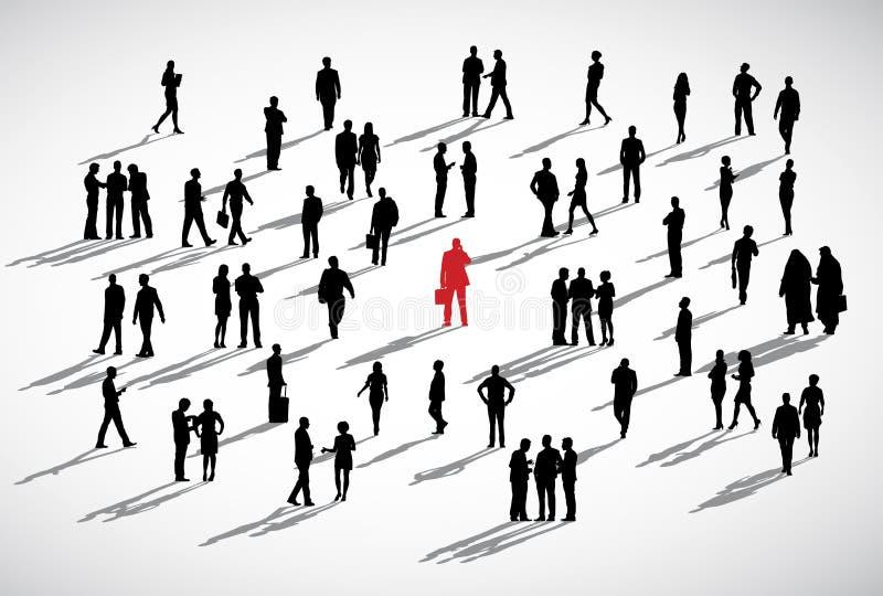 Концепция дела толпы индивидуального бизнесмена стоящая иллюстрация штока