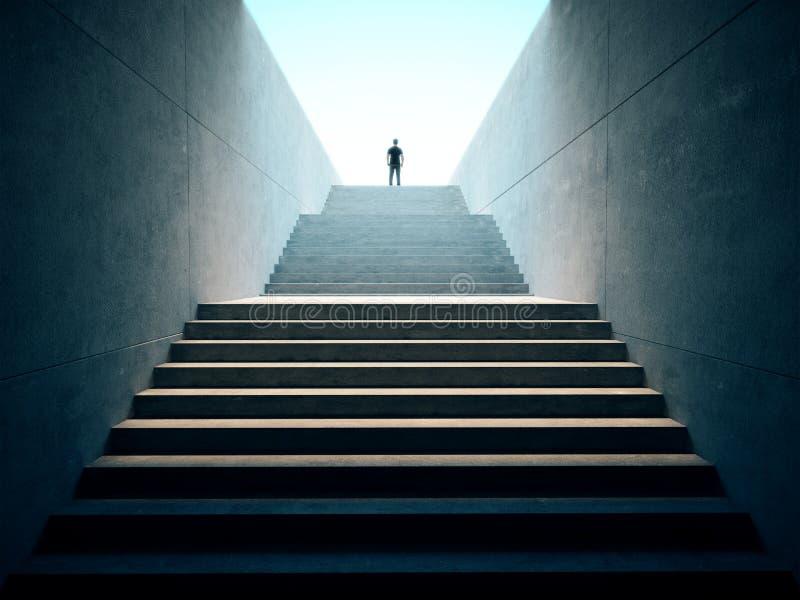 Концепция дела успеха Люди взобранные na górze лестниц бесплатная иллюстрация