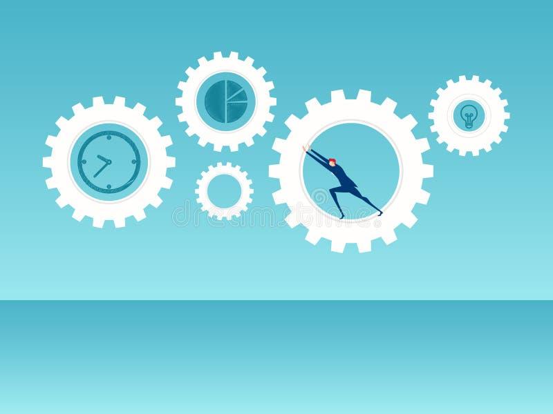 Концепция дела успеха Повышение команды дела и нажатие деятельности механизма дела к успеху бесплатная иллюстрация