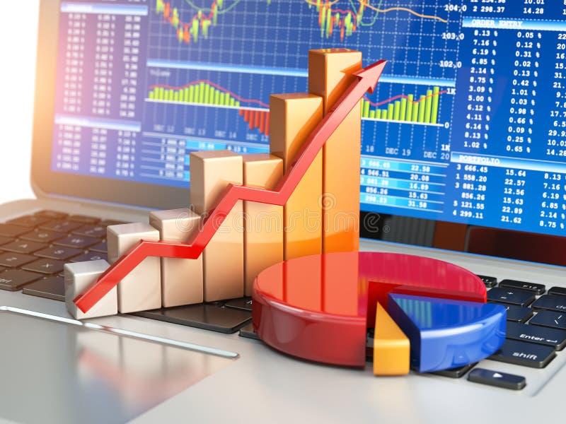 Концепция дела фондовой биржи онлайн Диаграмма и диаграмма на lapto иллюстрация вектора