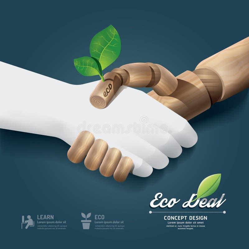 Концепция дела eco рукопожатия с древесиной и pape руки иллюстрация вектора