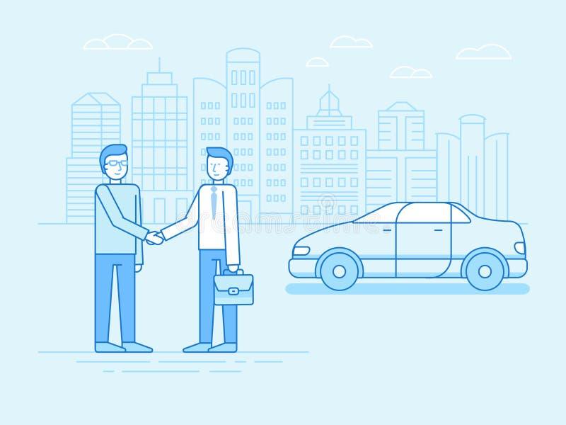 Концепция делить автомобиля - новая модель обслуживания проката автомобиля иллюстрация вектора