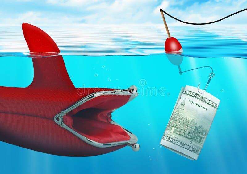 Концепция делового риска, задвижка приманки денег портмоне на океане стоковое изображение rf