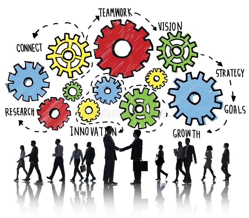 Концепция деловой поддержки зрения стратегии целей сыгранности команды иллюстрация штока