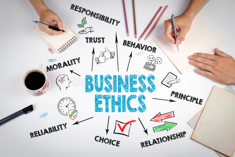 Концепция деловой этики Встреча на белой таблице офиса стоковое изображение rf