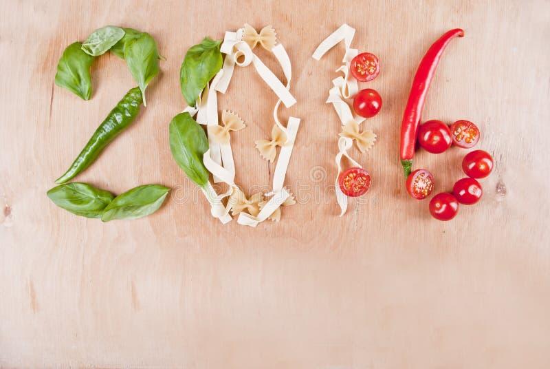 Концепция еды 2016 итальянок стоковые фотографии rf