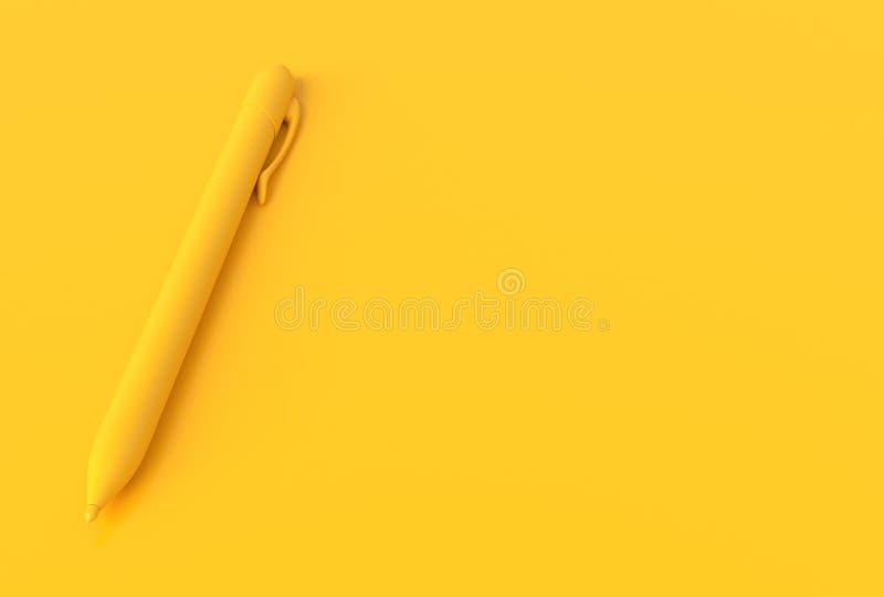 Концепция желтого цвета ручки минимальная иллюстрация штока