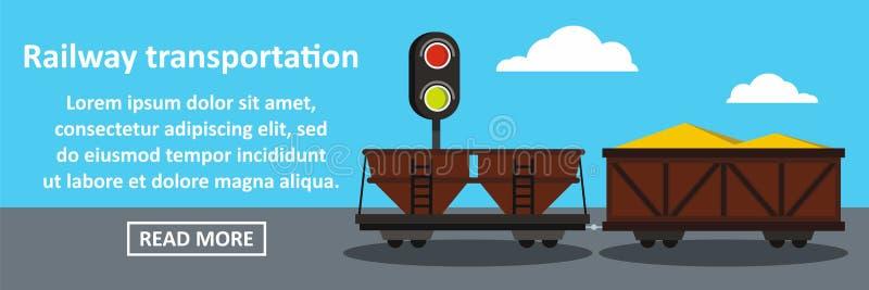 Концепция железнодорожного знамени транспорта горизонтальная иллюстрация вектора