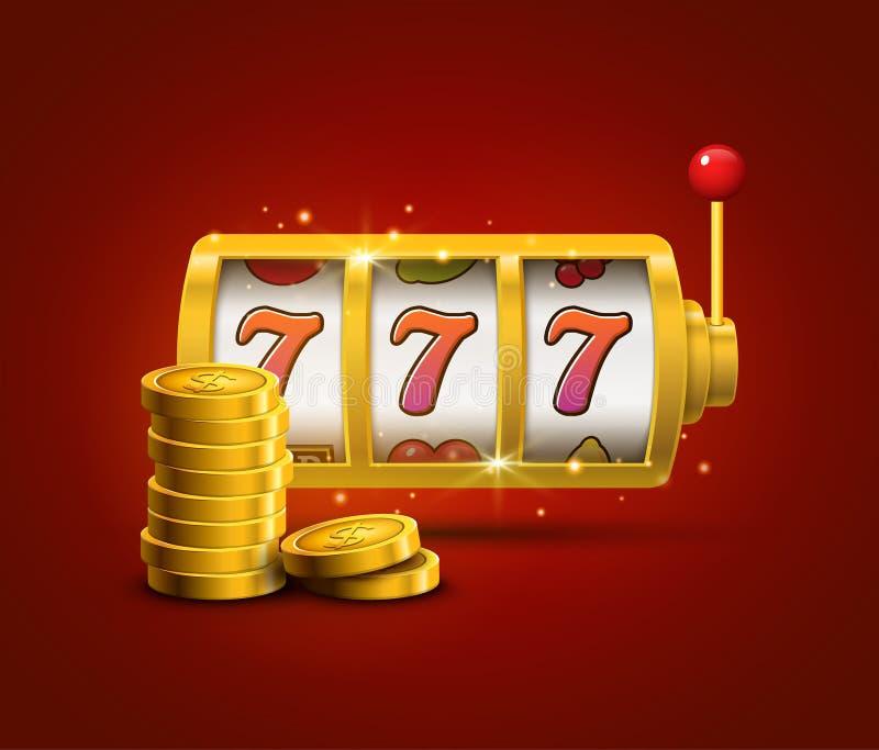 Концепция 777 джэкпота sevens торгового автомата удачливая Игра казино вектора Торговый автомат с монетками денег Джэкпот шанса у бесплатная иллюстрация