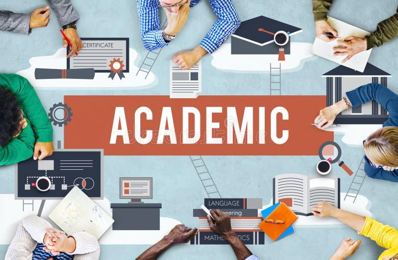 Концепция заведения образования коллажа академичная иллюстрация вектора