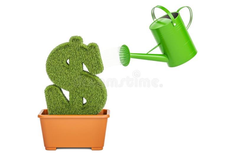 Концепция завода денег Моча чонсервная банка мочит травянистый символ доллара, 3D иллюстрация вектора