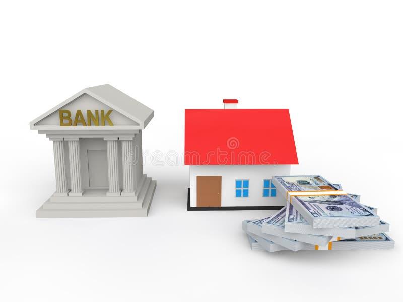 концепция займа дома банка 3d бесплатная иллюстрация