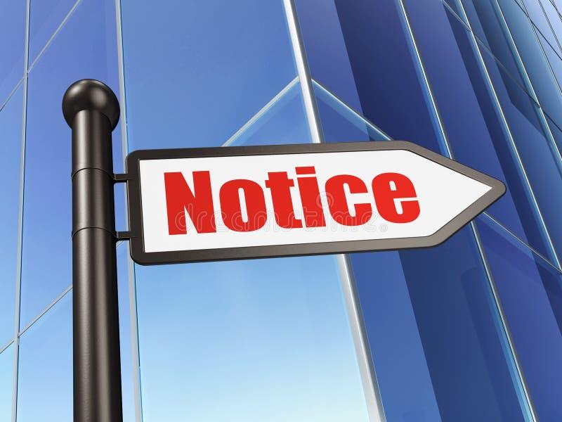 Концепция закона: извещение о знака на предпосылке здания иллюстрация вектора