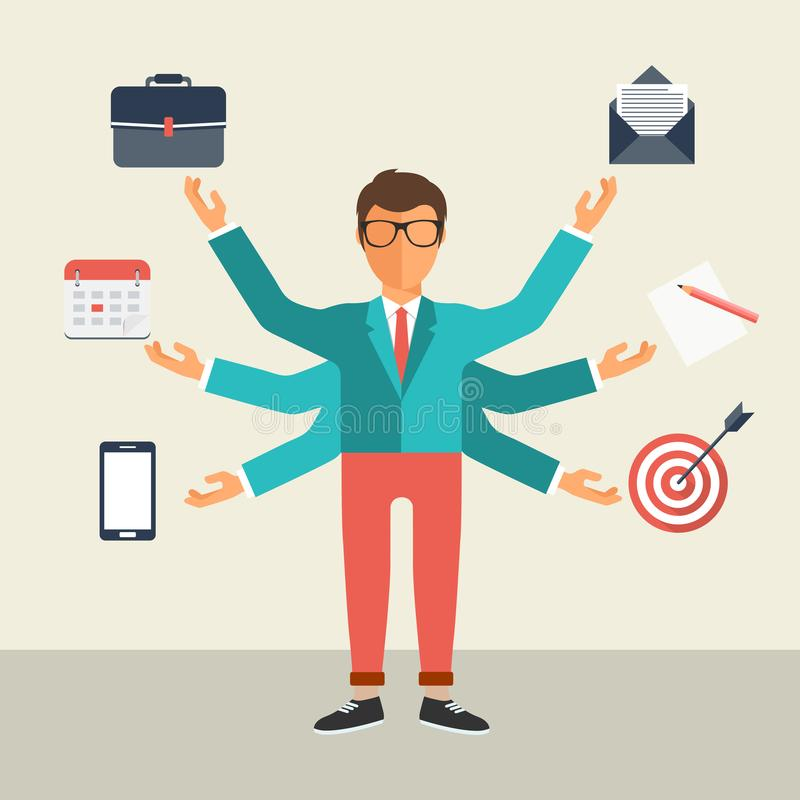 Концепция занятости человеческих ресурсов и собственной личности Развитие и интернет-обслуживание иллюстрация штока