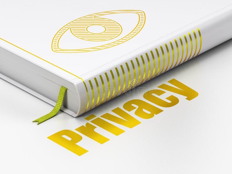 Концепция защиты: глаз книги, уединение на белизне стоковое фото rf