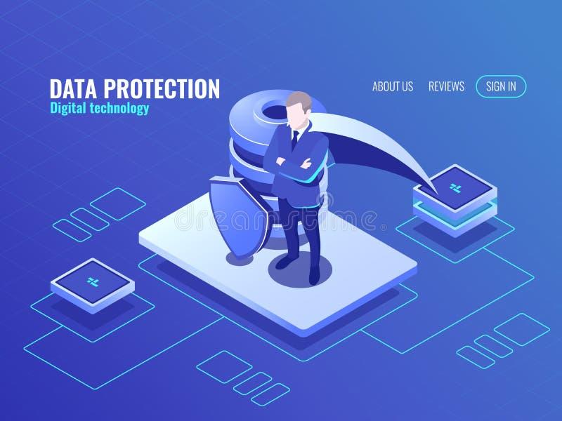 Концепция защиты данных, человек в супергерое плаща, значке базы данных равновеликом, защищенном экране, интернете безопасном иллюстрация штока