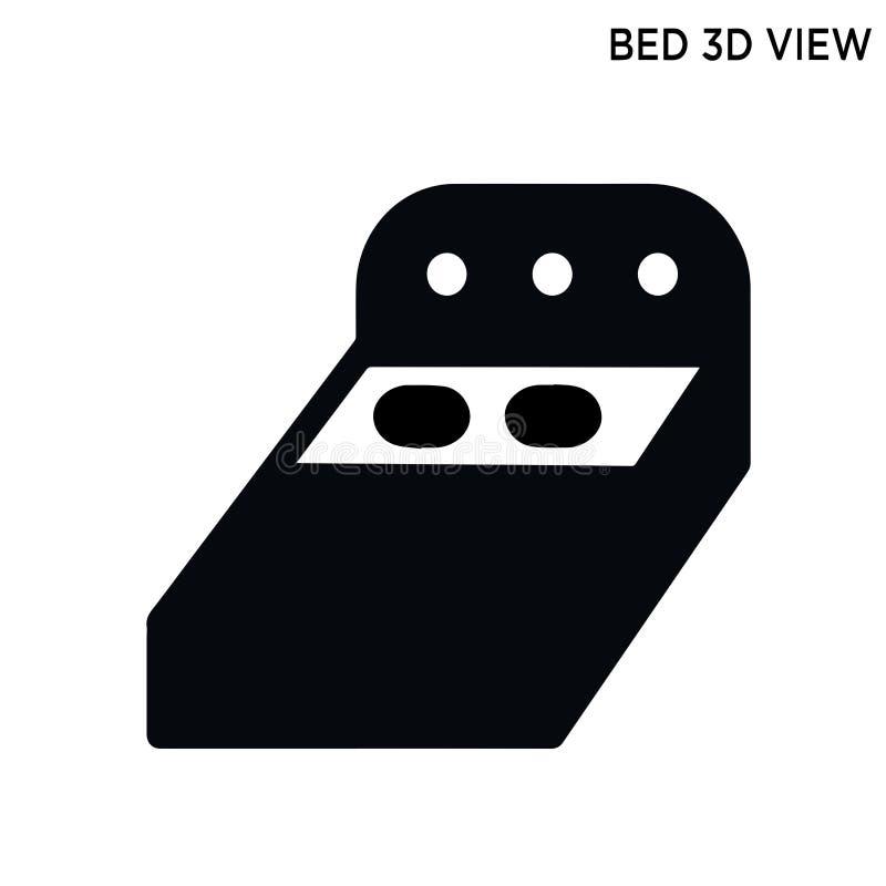 Концепция зданий значка взгляда кровати 3D иллюстрация вектора