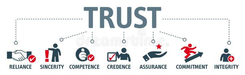 Концепция здания доверия Знамя с ключевыми словами и illustra иллюстрация вектора