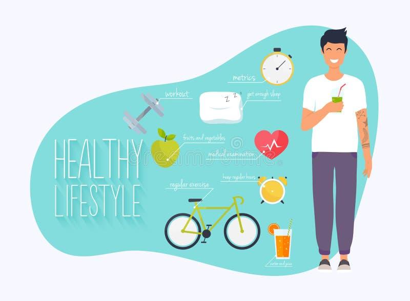 Концепция здорового infographics образа жизни Молодой человек привести здоровый образ жизни Значки для сети: фитнес, здоровая еда иллюстрация штока