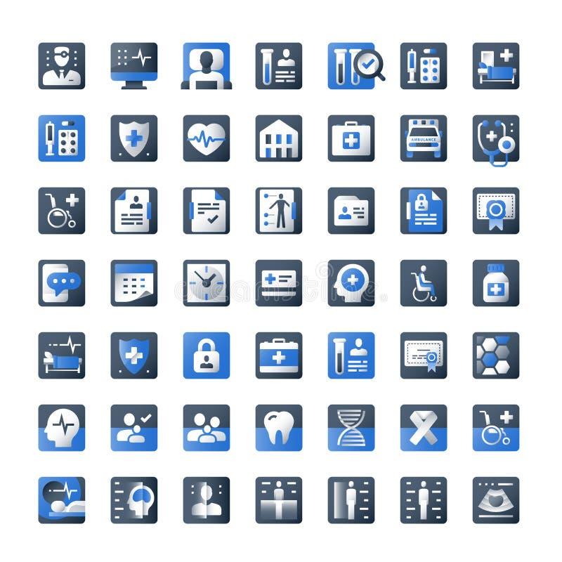 Концепция здравоохранения, медицинский набор значка, собрание символа медицины, медицинский осмотр вверх, дизайн вектора плоский иллюстрация вектора