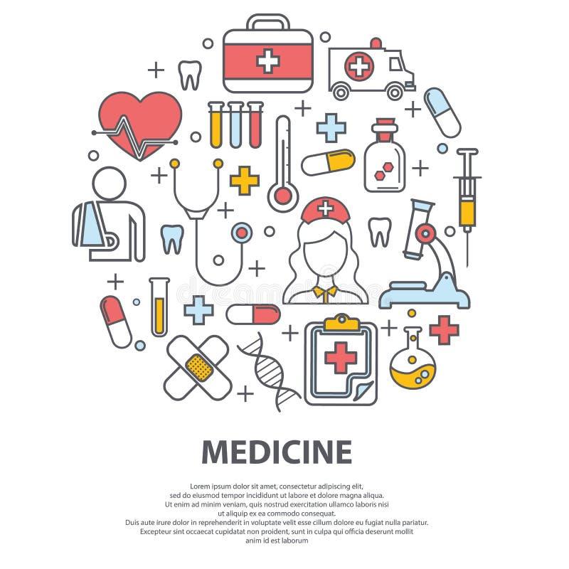 Концепция здравоохранения с тонкой линией значками связанными с больницей, клиникой, лабораторией Иллюстрация вектора для заключе бесплатная иллюстрация