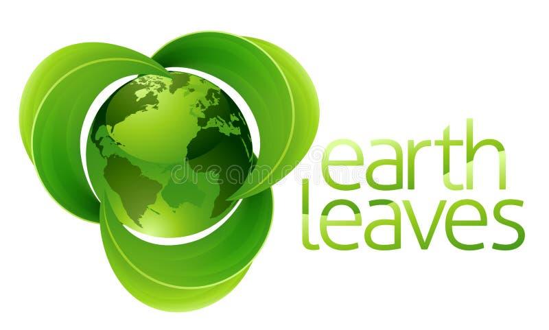 Концепция земли глобуса листьев иллюстрация штока
