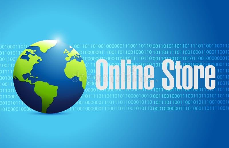 концепция знака глобуса онлайн магазина бинарная бесплатная иллюстрация