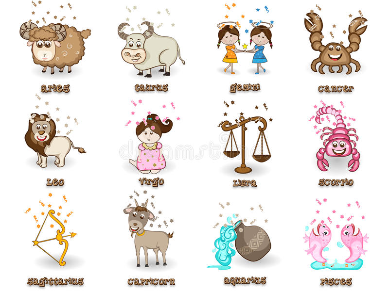 Концепция знака зодиака 12 или гороскопа иллюстрация штока