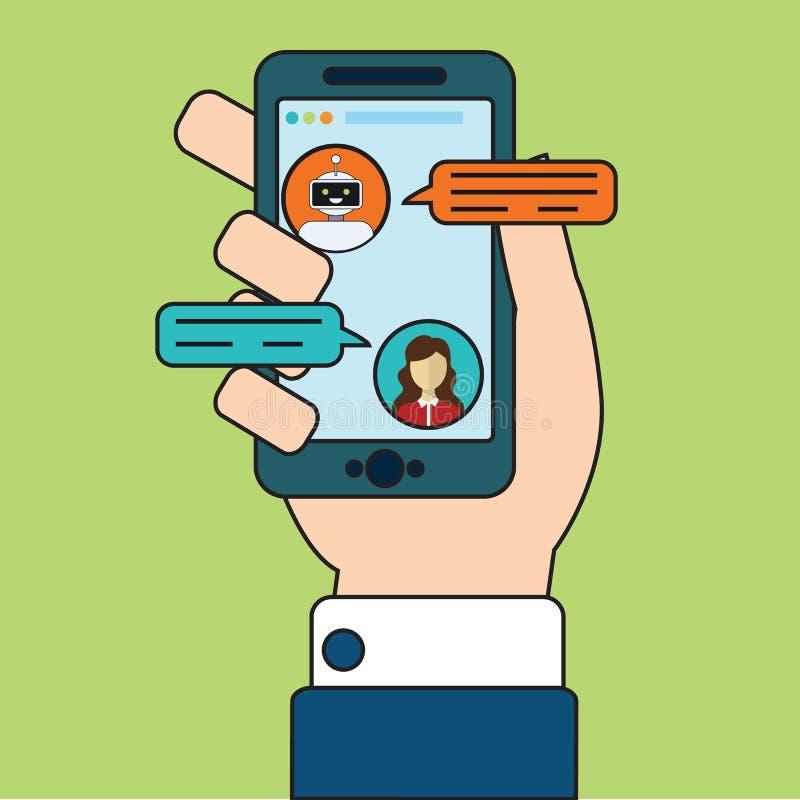 Концепция знамени Chatbot Горизонтальный шаблон знамени дела при иллюстрация человека беседуя с средством болтовни внутри иллюстрация штока