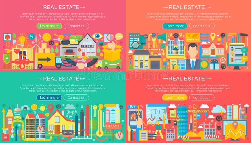Концепция знамен недвижимости horisontal установила с иллюстрацией вектора значков продажи и арендной квартиры рынка плоской бесплатная иллюстрация