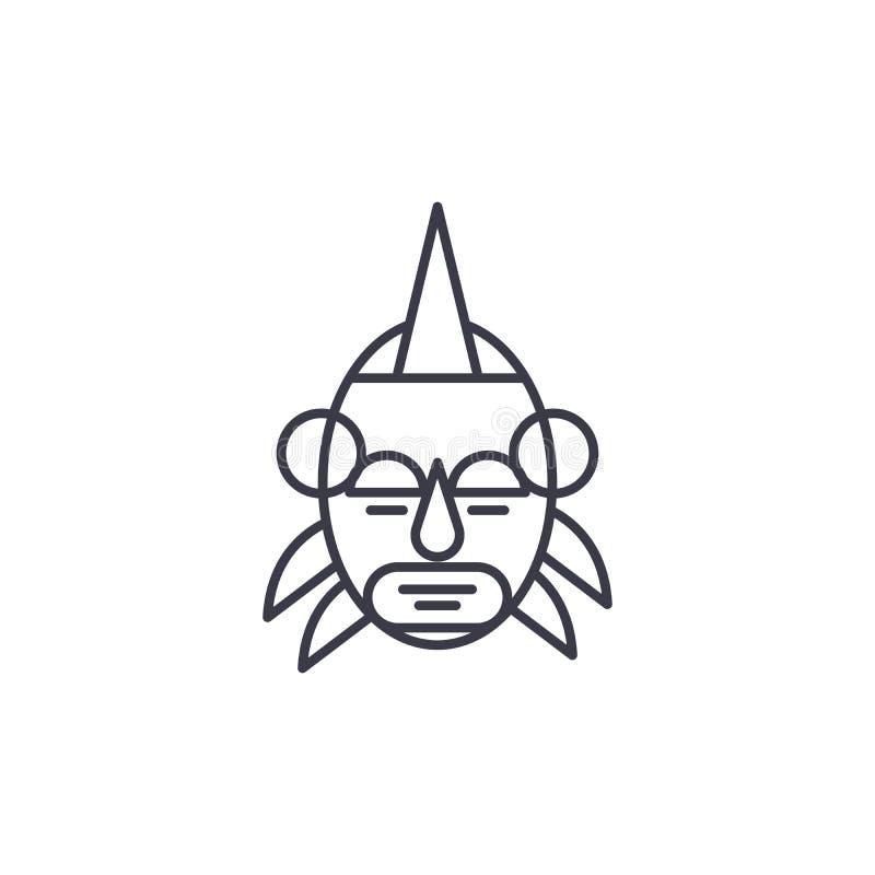 Концепция значка африканского руководителя маски линейная Африканская линия руководителя знак маски вектора, символ, иллюстрация иллюстрация вектора