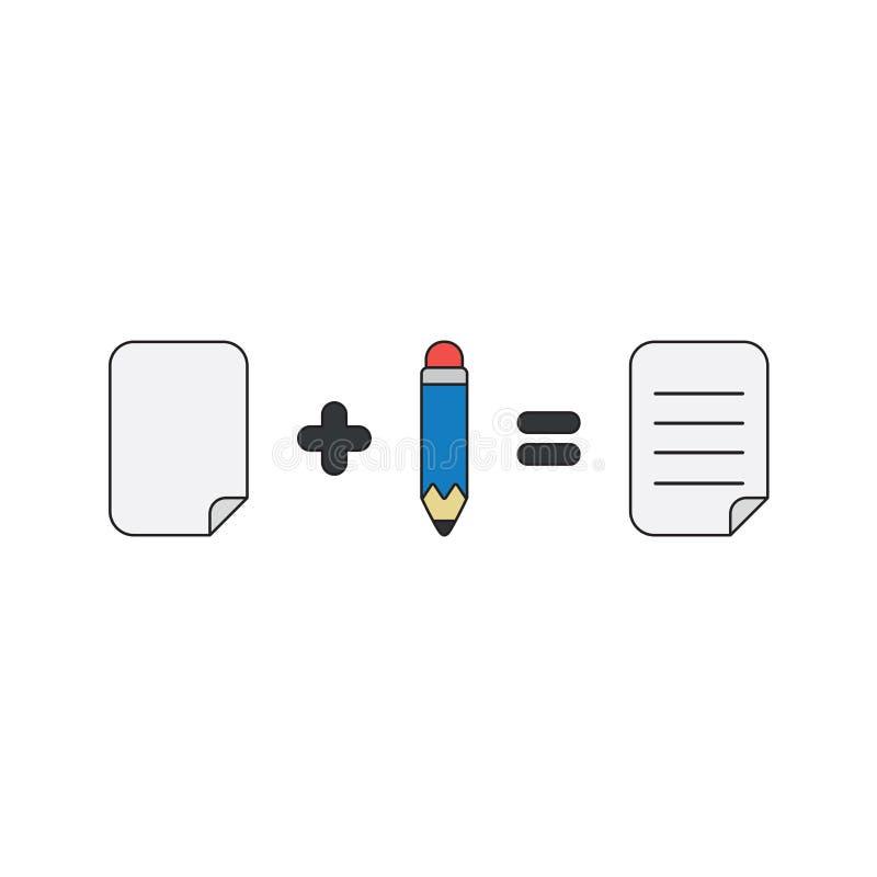 Концепция значка вектора бумаги плюс равные карандаша написанные бумагу r иллюстрация вектора