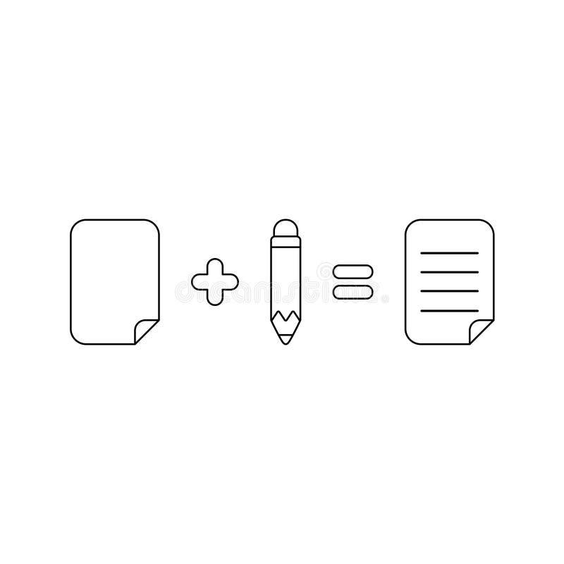 Концепция значка вектора бумаги плюс равные карандаша написанные бумагу r иллюстрация штока