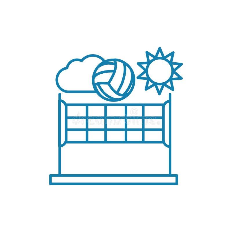Концепция значка волейбола пляжа линейная Линия знак волейбола пляжа вектора, символ, иллюстрация бесплатная иллюстрация