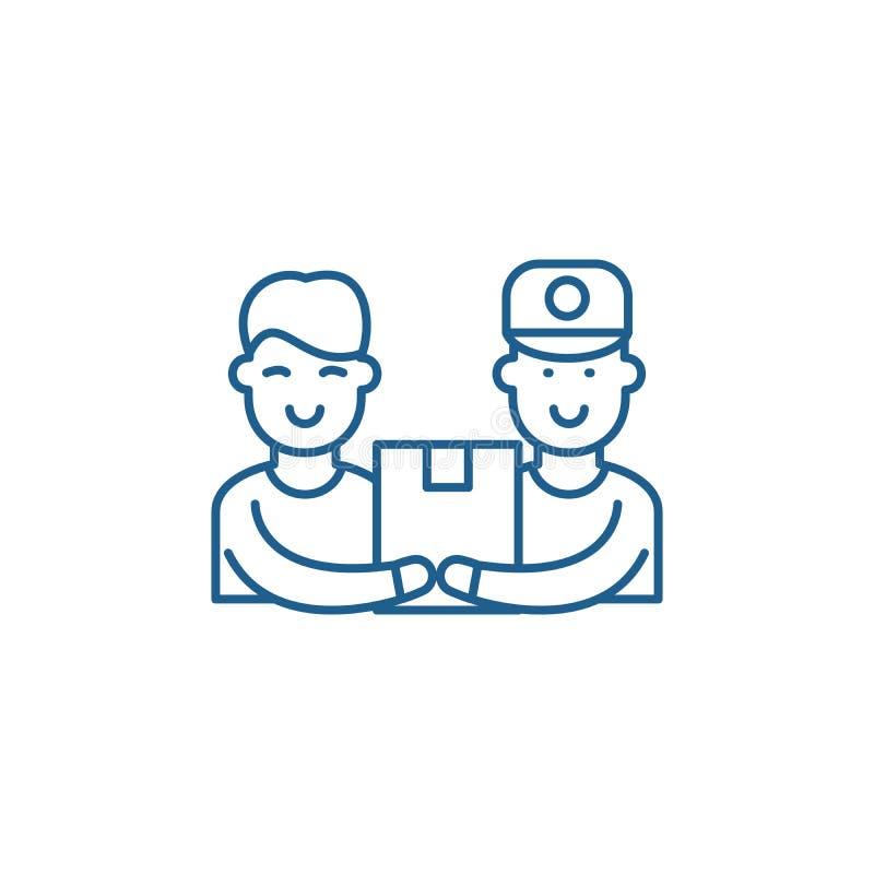Концепция значка канала обслуживания курьера Символ вектора курьерского сервиса плоский, знак, иллюстрация плана бесплатная иллюстрация