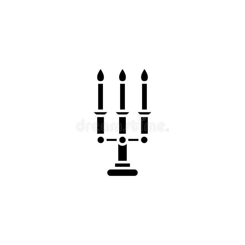 Концепция значка канделябра черная Символ вектора канделябра плоский, знак, иллюстрация иллюстрация вектора