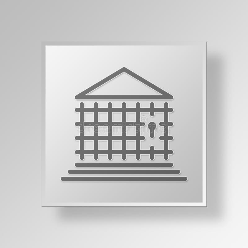 концепция значка кнопки банка тюрьмы 3D иллюстрация штока