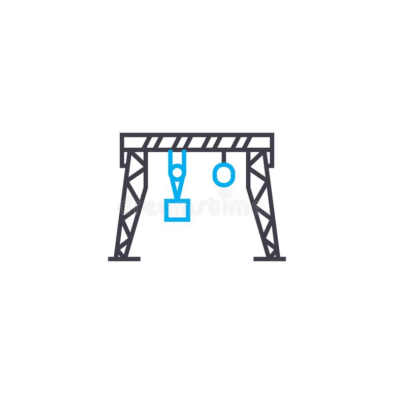 Концепция значка крана на козлах линейная Линия знак крана на козлах вектора, символ, иллюстрация бесплатная иллюстрация