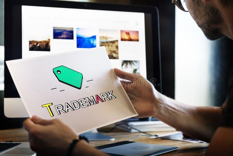 Концепция значка маркетинга дела авторского права товарного знака бирки стоковые фото