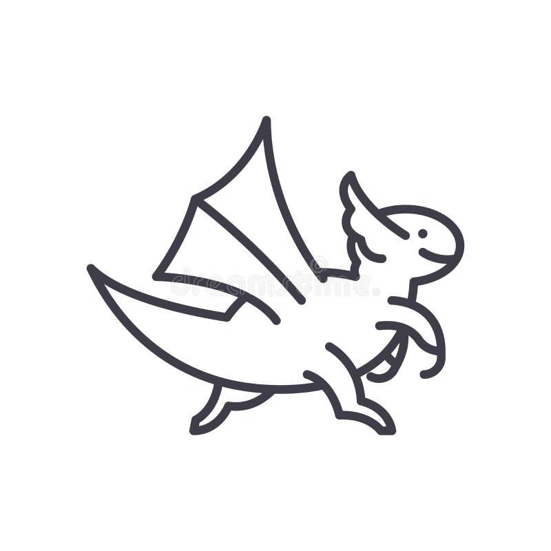 Концепция значка мифических животных черная Символ вектора мифических животных плоский, знак, иллюстрация бесплатная иллюстрация