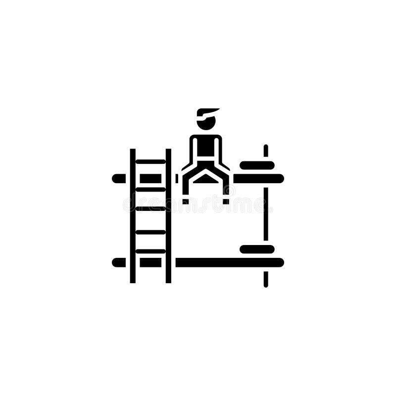 Концепция значка общежития черная Символ вектора общежития плоский, знак, иллюстрация иллюстрация вектора