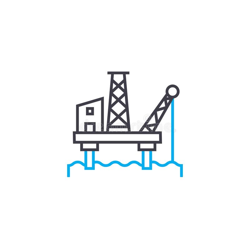 Концепция значка оффшорной нефтедобывающей промышленности линейная Оффшорная линия знак нефтедобывающей промышленности вектора, с иллюстрация вектора