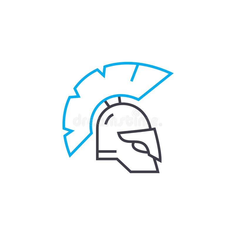 Концепция значка панцыря рыцаря линейная Knight линия знак панцыря вектора, символ, иллюстрация бесплатная иллюстрация