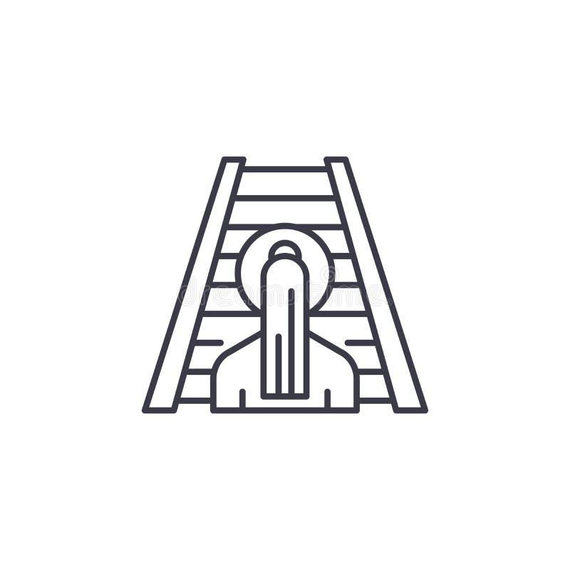 Концепция значка постепенно роста линейная Постепенно линия знак роста вектора, символ, иллюстрация бесплатная иллюстрация