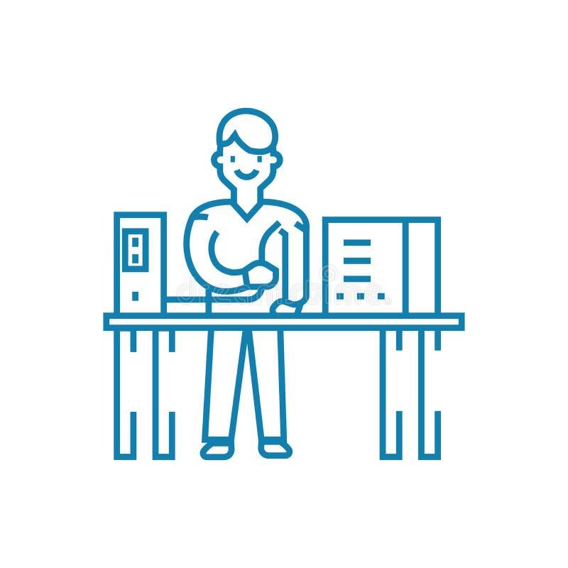 Концепция значка ремонта компьютера линейная Линия знак ремонта компьютера вектора, символ, иллюстрация бесплатная иллюстрация