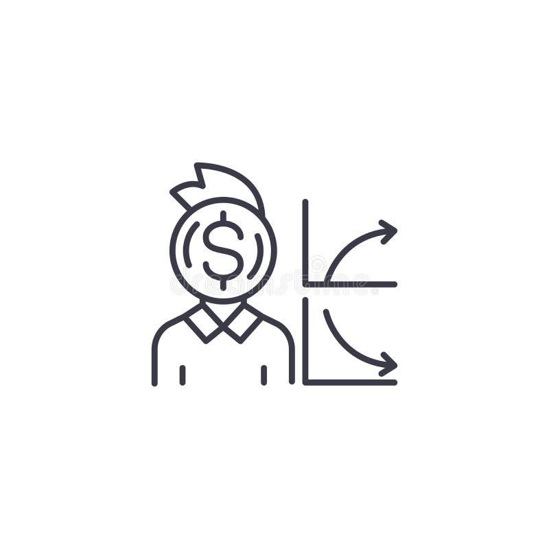 Концепция значка создателя денег линейная Линия знак создателя денег вектора, символ, иллюстрация бесплатная иллюстрация