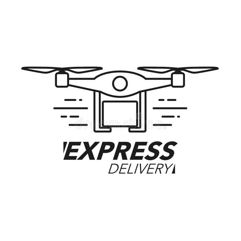 Концепция значка срочной поставки Обслуживание трутня, заказ, всемирный s иллюстрация вектора